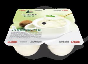Pudding dừa là sự hòa quyện của các nguyên liệu sữa, bột sữa dừa tự nhiên tạo nên hỗn hợp béo thơm, dậy hương dừa đặc trưng. Sản phẩm sau khi được bảo quản lạnh sẽ có độ đặc mịn, mềm tan và mang lại cảm giác thanh mát khi thưởng thức.