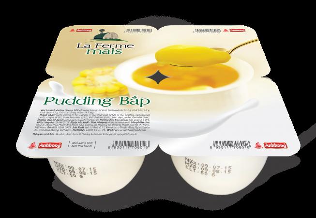Pudding bắp là sự kết hợp của sữa tươi và chiết xuất bắp. Sản phẩm có màu vàng nhạt tự nhiên và hương dịu nhẹ của bắp non. Sản phẩm sau khi được bảo quản lạnh sẽ có cốt bánh đặc mịn, vị thanh mát.